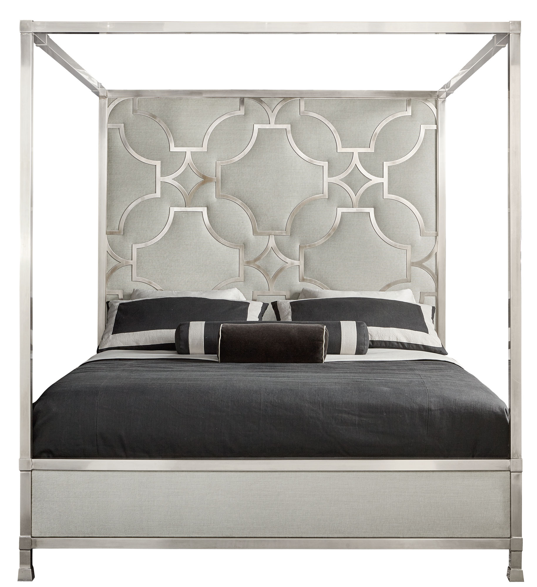 Domaine Blanc Upholstered Metal Canopy King Bed & Domaine Blanc Upholstered Metal Canopy King Bed - Beds - Bedroom ...
