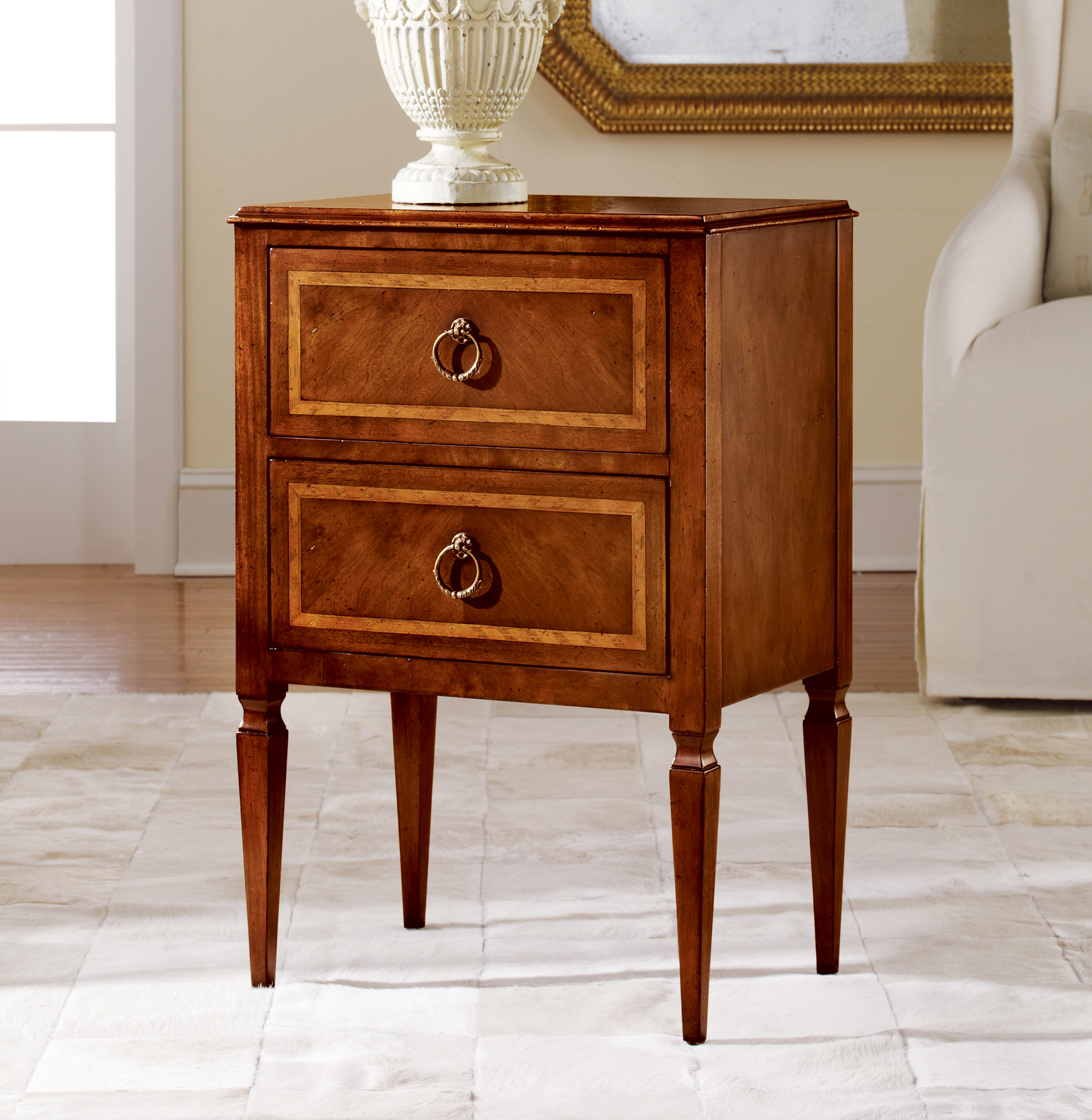 Small Two Drawer Commode End Occasional Tables Modern History