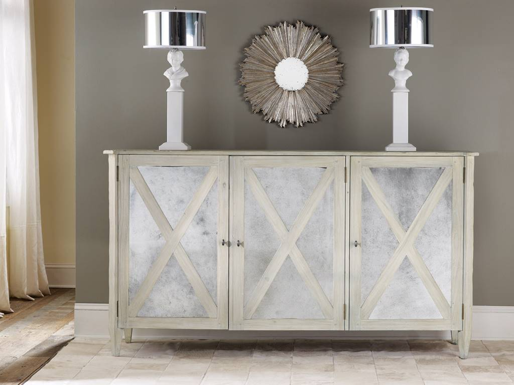 Delicieux Mirrored 3 Door Cabinet Antique White