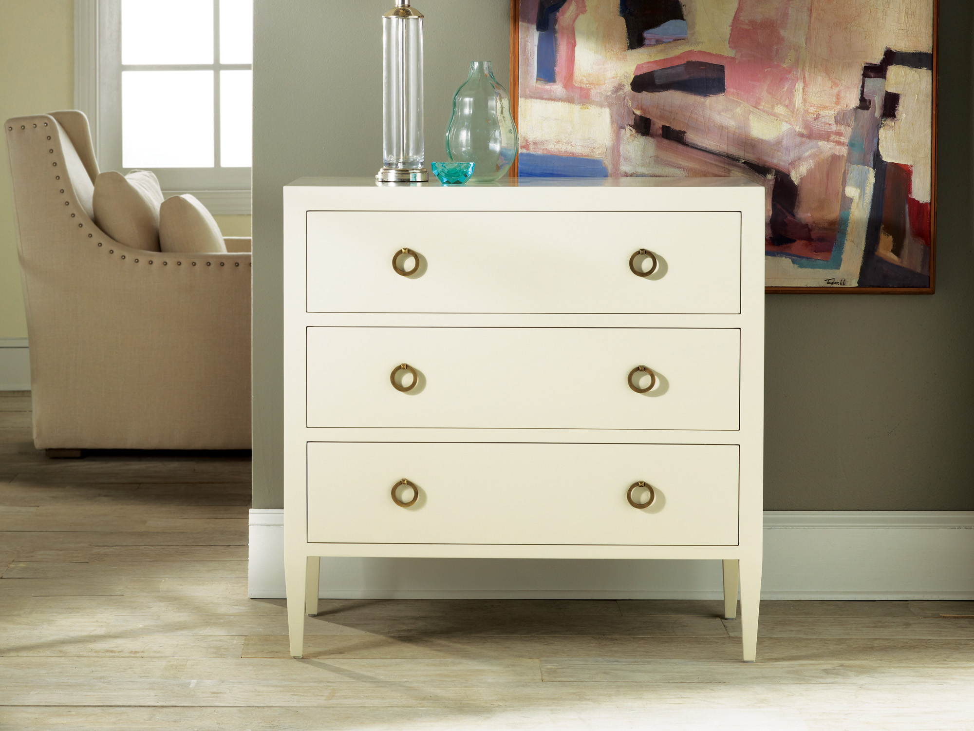 Painted Three Drawer Chest On Legs