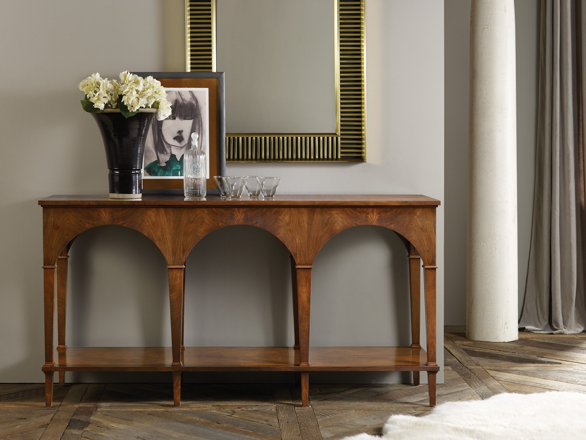 Triple Classical Console With Shelf Consoles Sofa