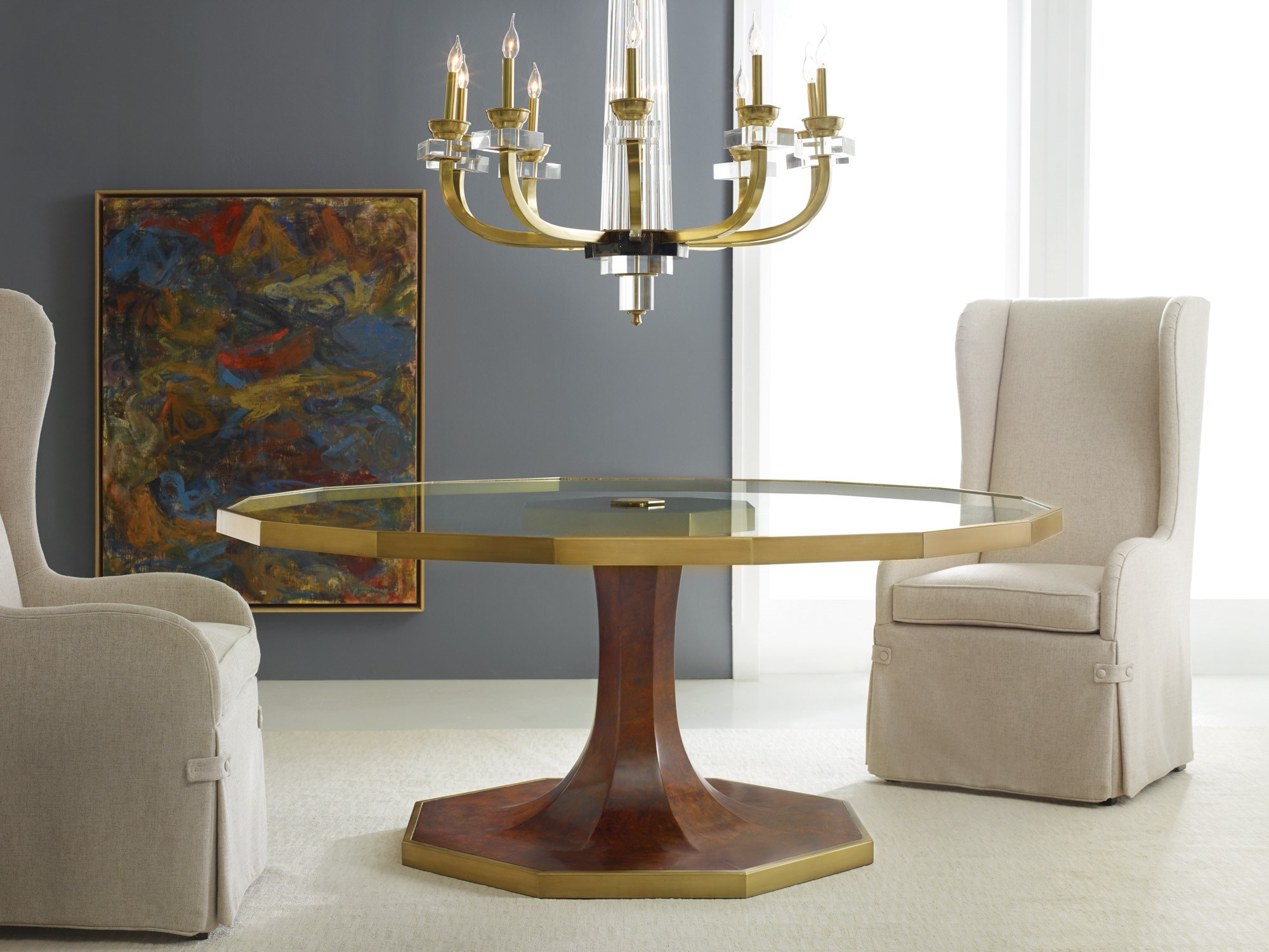 Glass & Burl Dining Table Dining