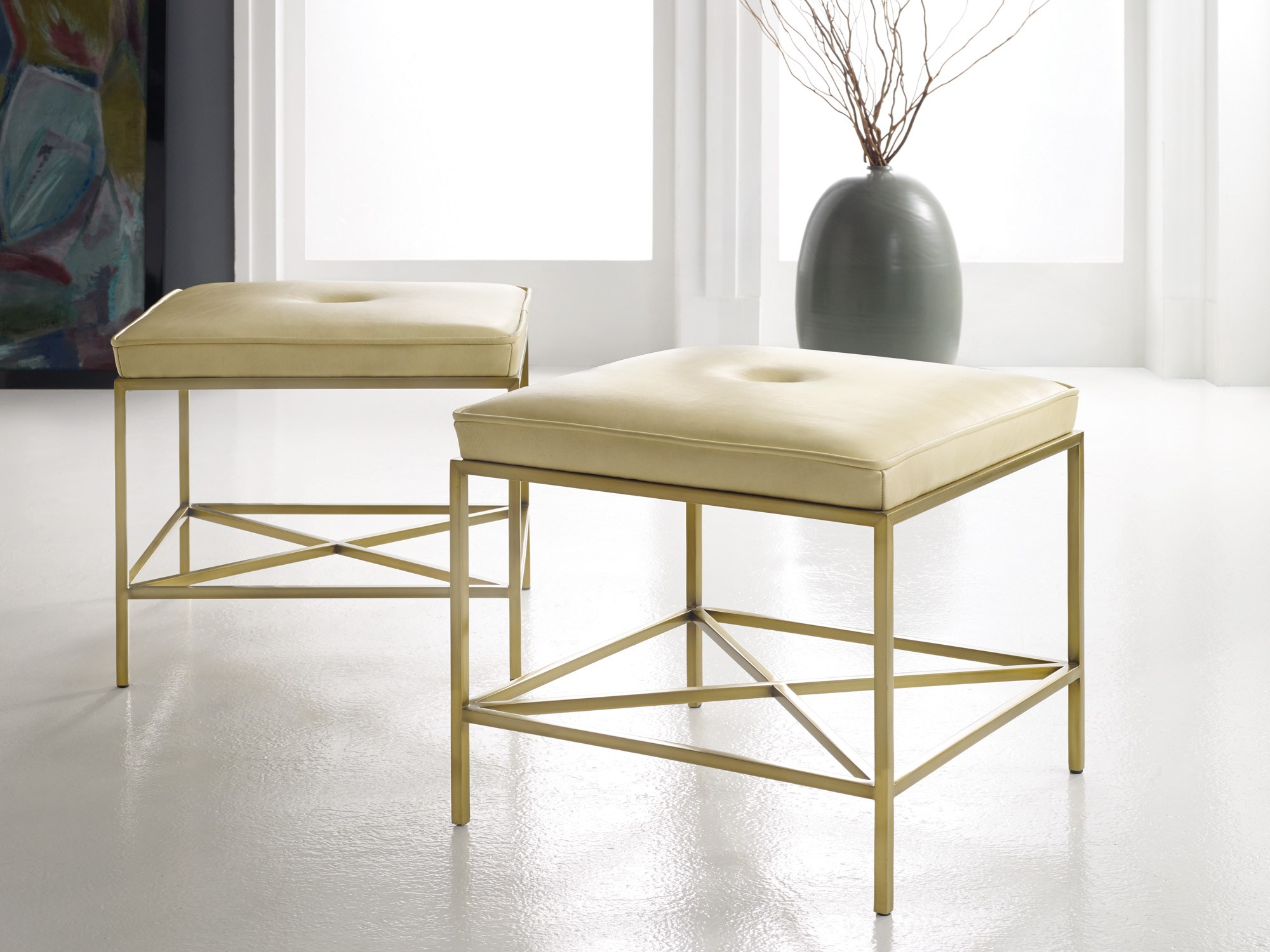 seating  english seating  british seating  contemporary seating  - leather  brass stool mhf