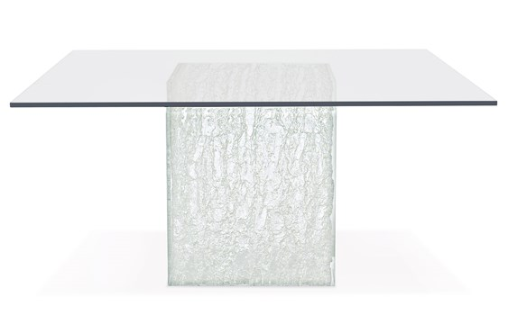 Arctic Square Dining Table with Glass Top