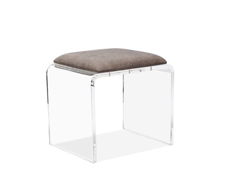 Mira Acrylic Stool in Grey Velvet