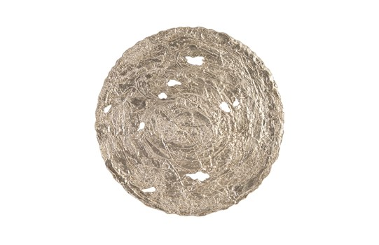 Molten Disc Wall Art Silver Leaf