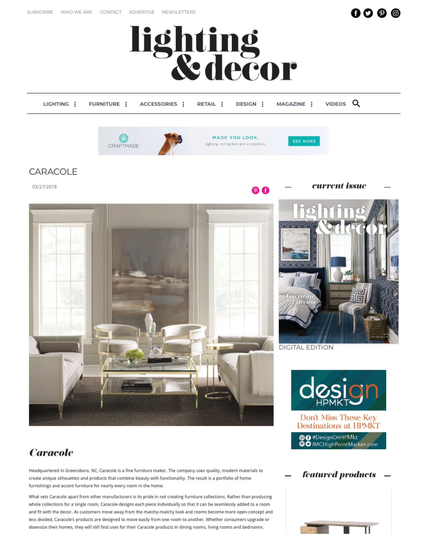 Lighting & Decor Online, March 2018