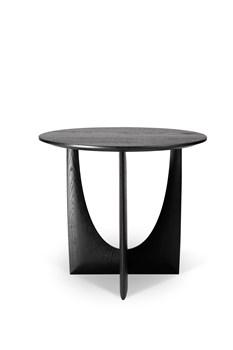 Oak Geometric Black End Table