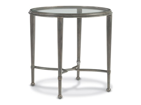 Sangiovese Round End Table - Antique Silver