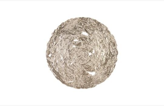Molten Disc Wall Art Silver Leaf, Medium