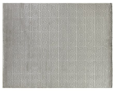 8' X 10' Silver Hand Knotted Rug
