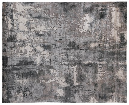 8' X 10' Charcoal Hand Knotted Rug