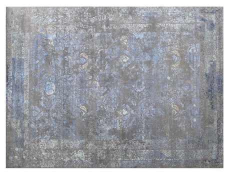 8' X 10' Gray/Blue Hand Knotted Rug