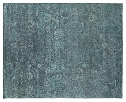 8' X 10' Blue/Light Blue Hand Knotted Rug