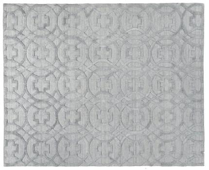 8' X 10' Light Silver Handmade Rug