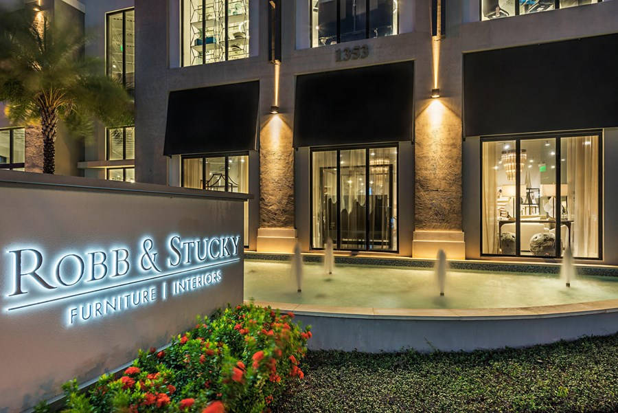 Photo of exterior dusk shot of the R&S Boca Raton Showroom, link to R&S Careers Page