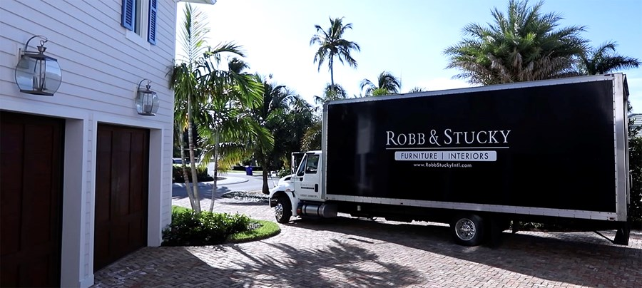 R&S delivery truck at Naples customer home during delivery