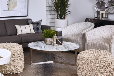 photo of showroom vignette featuring a living room group from The District