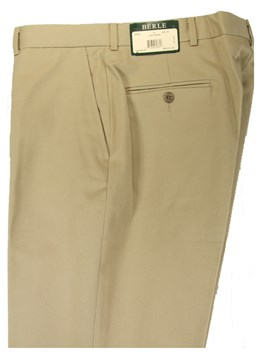 Berle-Classic-Khaki-100-Cotton-Twill-Pleated--Flat-Front